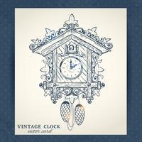 Carte postale ancienne horloge de coucou rétro