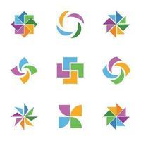 Pack de vecteur icône abstrait coloré