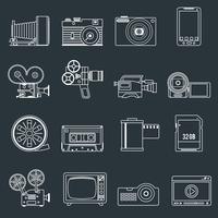 Contour de jeu d'icônes photo vidéo vecteur