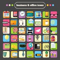 Ensemble d'icônes de fournitures de bureau d'affaires vecteur