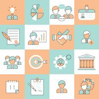 Ligne plate d'icônes de gestion des affaires