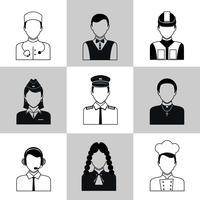 Professions icônes avatar ensemble noir vecteur