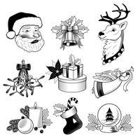 Ensemble d'icônes de Noël noir et blanc