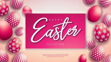 Illustration vectorielle de joyeuses fêtes de Pâques avec des oeufs peints rouges sur fond clair. vecteur