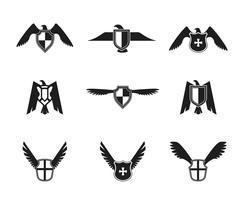 ensemble de bouclier icône aigle vecteur