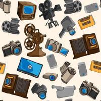 Modèle sans couture photo vidéo vecteur