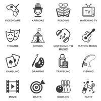Ensemble d'icônes de divertissements vecteur
