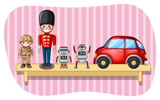 Soldat de jouets et de robots sur une étagère