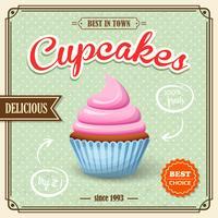 Affiche rétro Cupcake vecteur