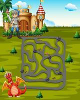 Modèle de plateau avec chevalier et dragon vecteur
