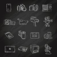 Tableau d'icônes photo vidéo vecteur