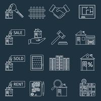 Icônes de contour immobilier