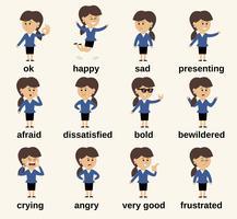 Émotions de caractère femme affaires vecteur