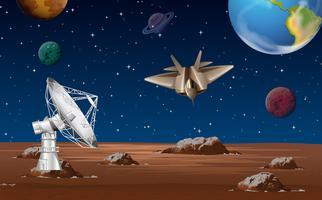 Scène spatiale avec antenne parabolique et vaisseau spatial