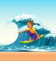Homme surfant sur les grosses vagues vecteur