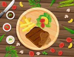Steak et frites sur une table ronde vecteur