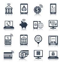 Icônes bancaires mobiles noires vecteur