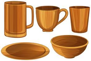 Tasses et assiettes en bois vecteur