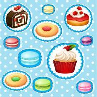 Ensemble d'autocollants avec différents types de desserts vecteur