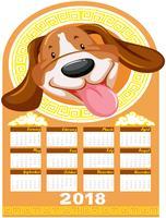 Modèle de calendrier avec chien mignon vecteur