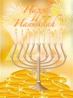 Hanukkah heureuse avec des bougies et de l'or