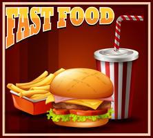 Fastfood mis sur l'affiche vecteur