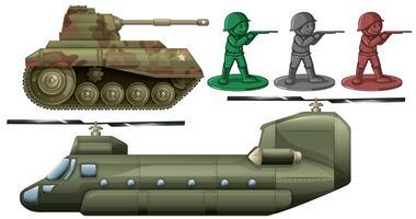 Véhicules militaires et jouets de soldats