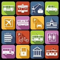 Icônes d'infrastructure de ville blanches