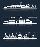 Bannières de skyline de la ville industrielle vecteur