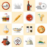 Cuisson des aliments Icons Set vecteur