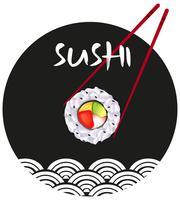 Conception autocollant avec sushi vecteur