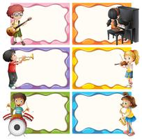 Modèle de cadre avec des enfants jouant des instruments de musique