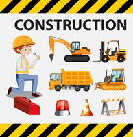 L'homme et les camions de construction sur l'affiche vecteur