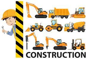 Travailleurs et camions de construction