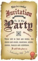 Affiche Vintage Invitation Médiévale vecteur