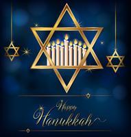 Modèle de carte heureux Hannukkah avec symboles juifs vecteur