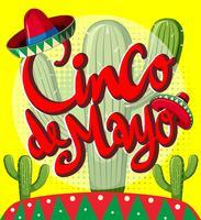 Modèle de carte Cinco de Mayo avec des plantes de cactus