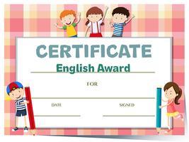 Modèle de certificat pour le prix d'anglais avec beaucoup d'enfants vecteur