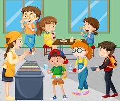 Enfants mangeant à la cafétéria vecteur