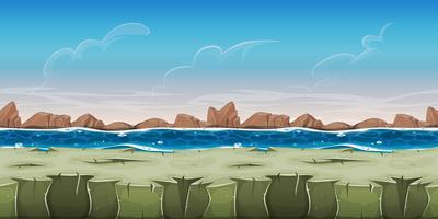 Paysage océanique sans couture pour le jeu Ui vecteur