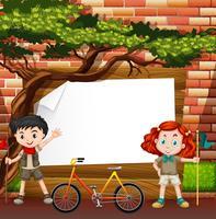 Bordure design avec garçon et fille