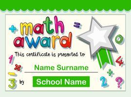 Modèle de certificat pour un prix en mathématiques