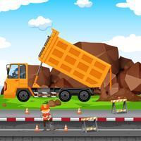 Chantier de construction avec homme et tracteur vecteur