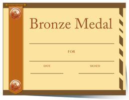 Modèle de certificat avec médaille de bronze