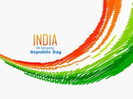 conception de drapeau indien dans le style de la vague