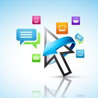 pointeur de la souris avec des icônes de médias sociaux vecteur
