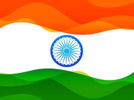 drapeau indien fait dans un style vague simple avec tricolore