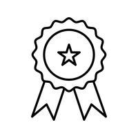 Ligne médaille icône noire vecteur