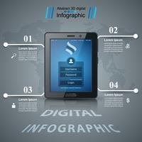 Infographie de l'entreprise. Icône de la tablette numérique. vecteur