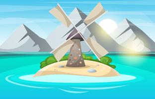 Caricature de l'île. Montagne, soleil, nuage, moulin à vent, mer et arbuste.